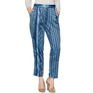 Regular Charmeuse Linear Print Ankle Pants
